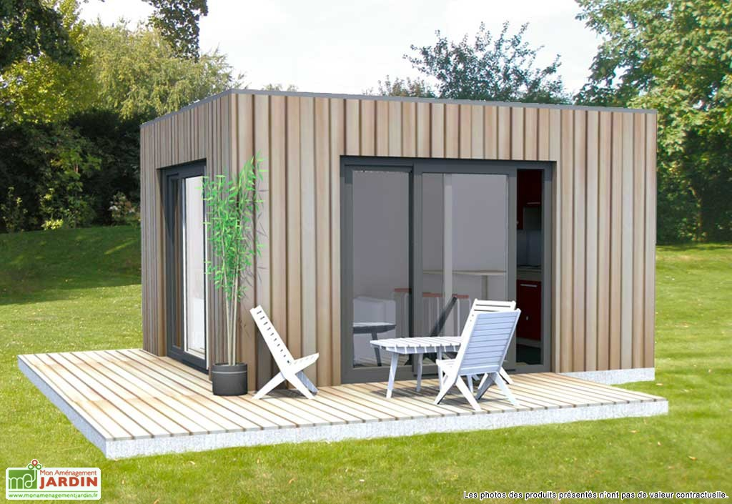 Bungalow design studio en ossature m l ze totalement isol for Bungalow en bois